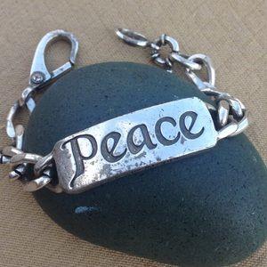 Lucky Brand Peace ☮️ ID Bracelet